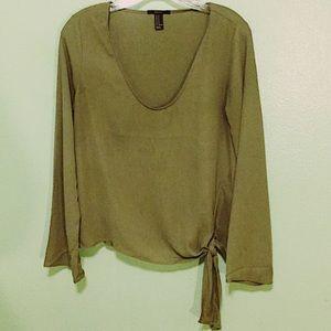 Beautiful Olive Green Long Sleeve Blouse